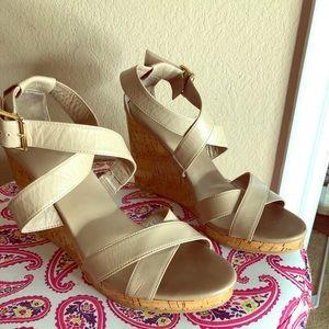 Cole Haan Nude/Beige wedge sandal.